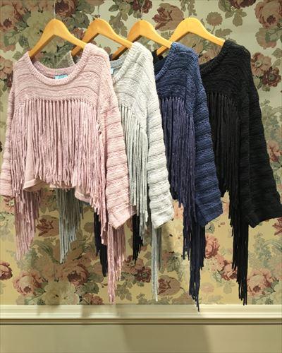 Fringe knit tops