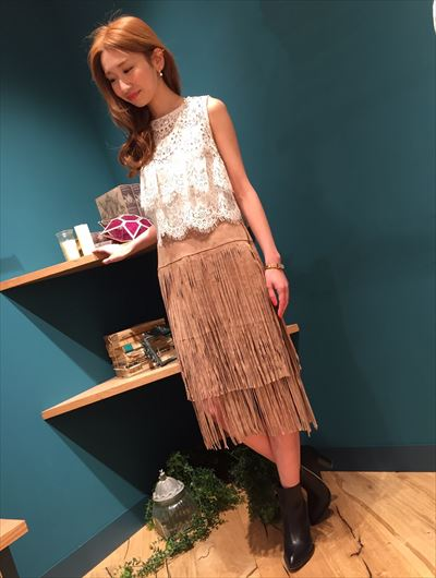 Suede fringe tight skirt