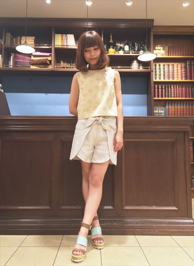 linen ribbon short pants