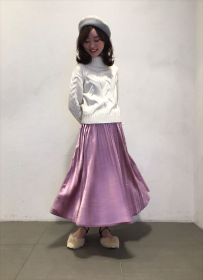 velours pleats skirt ♪