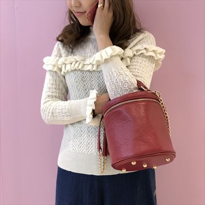 mix pattern double frill knit