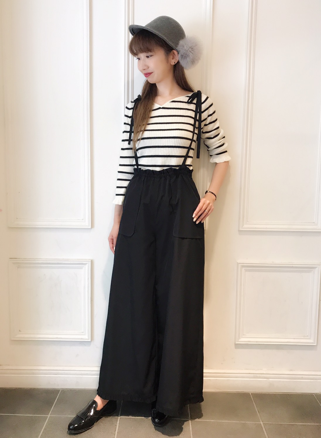 Waist frills pocket pants