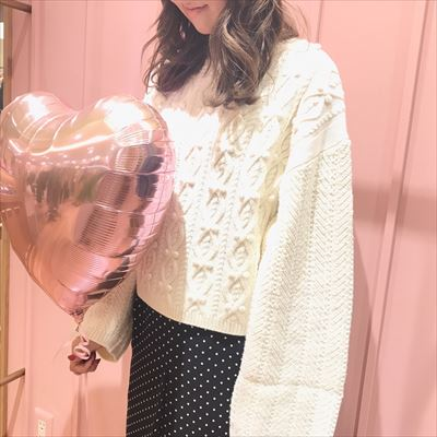 cable pompon bottleneck knit♡