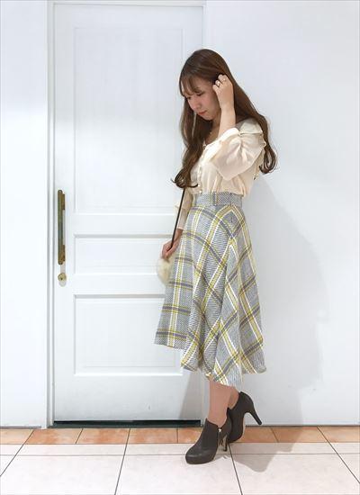 Check flare skirt♡