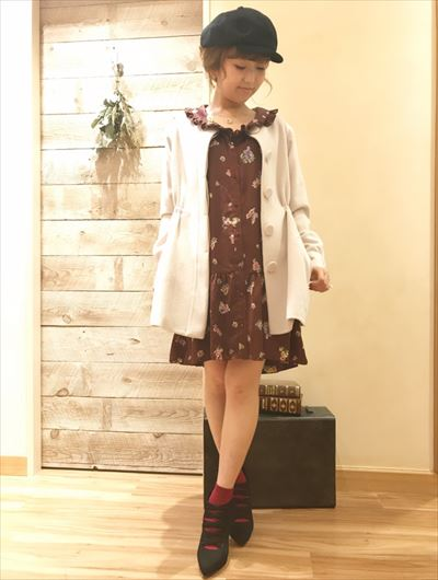 waist gather nocollar coat ♡
