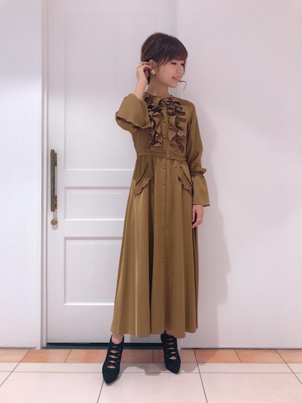 Hummer satin frill dress onepiece
