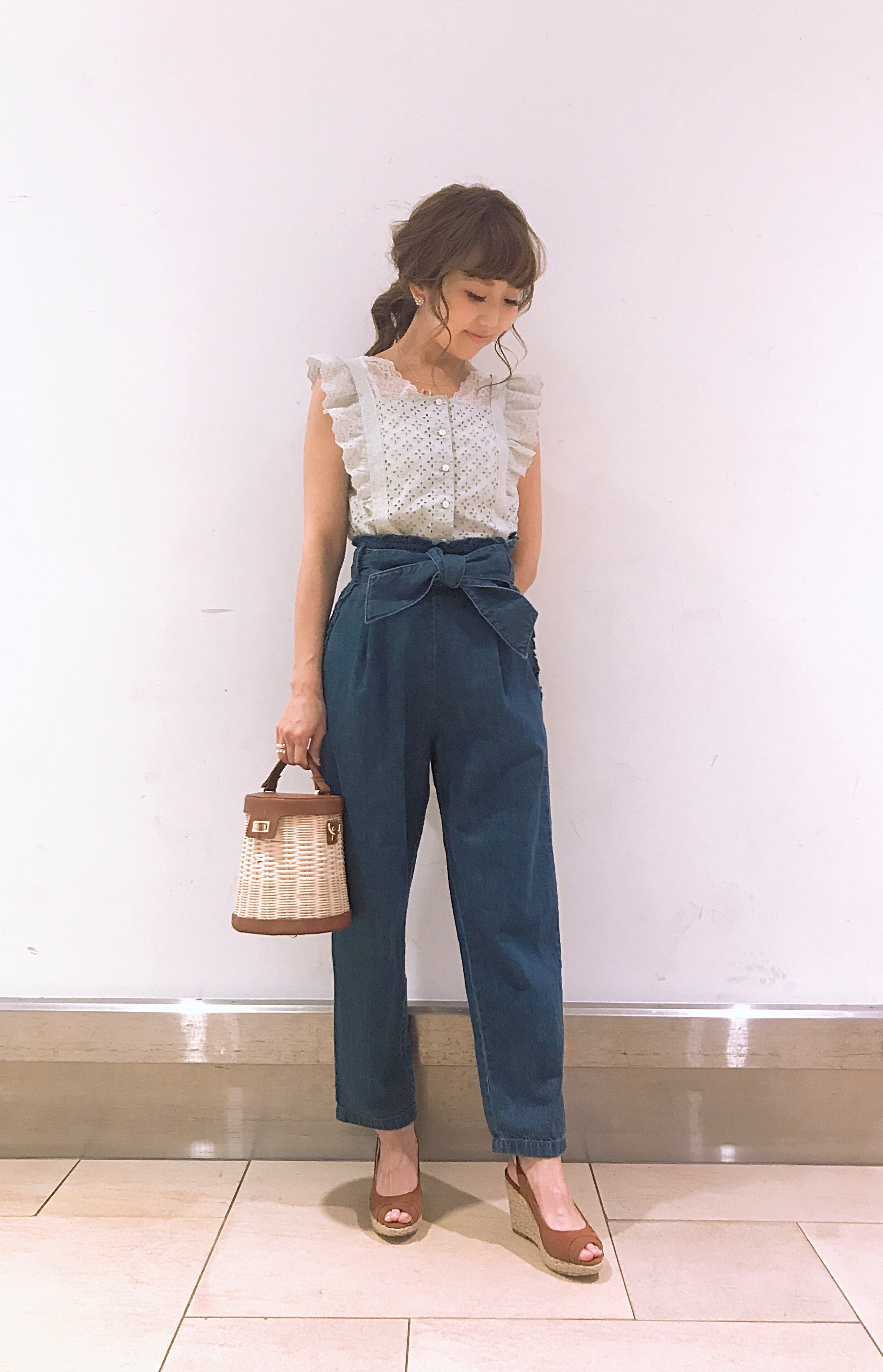 frill denim pants & front ribbon denim dress