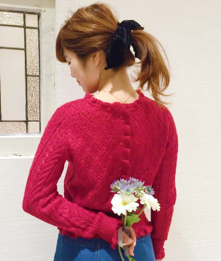 Mixed pattern mohair knit pullover