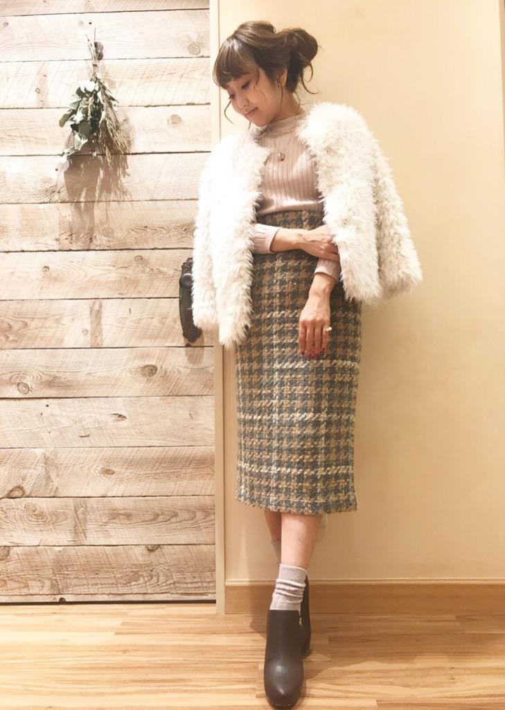 big check roving tight skirt♡